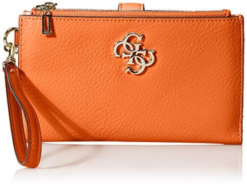 GUESS Damen Kim Double Zip Organizer Wallet Geldbörse, Mango, Einheitsgröße