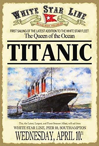 Anjoes Titanic White Star Linea The Queen Custom Metallschild 20,3 x 30,5 cm Bar Cafe Restaurant Home Decor