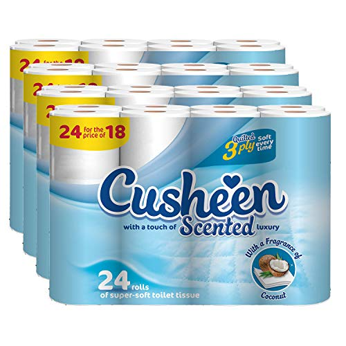 Cusheen Toilettenpapier Bulk Buy - 96 x gesteppte Luxus 3-lagige Kokosnuss-Duft-Toilettenpapier