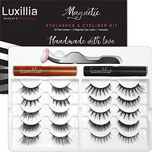 Luxillia by Amazon Magnetic Lashes with Eyeliner, Most Natural Looking Magnetic Eyelashes Kit with Applicator, Best 8D and 3D Look, Reusable Fake Eye Lash, No Glue, Strongest Waterproof Liquid Liner