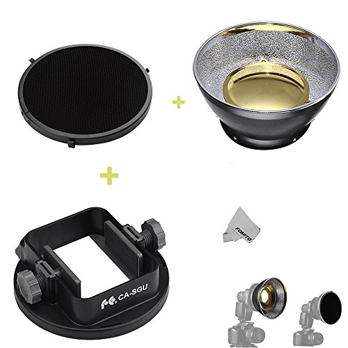Fomito Radar Honeycomb & Standard Reflector & Flash Adapter Mount for Canon Nikon Yongnuo Metz Neewer Godox Speedlite