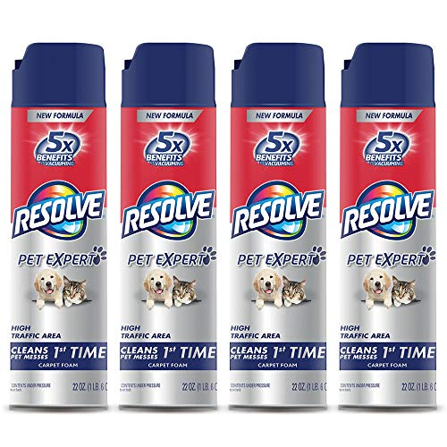 Resolve Pet High Traffic Carpet Foam, 88 oz (4 Cans x 22 oz), Cleans Freshens Softens & Removes Stains, Pack of 4
