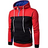 TIFIY Hommes/Tee Boys Patchwork Manches Longues Hommes Pull Manteau Col Montant Pull Outwear(Rouge, Medium)