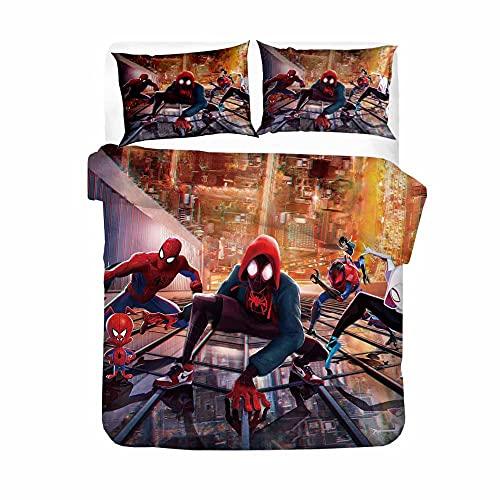 Spiderman,Multicolor Funda Nórdica Impresa en 3D Juego de Cama demicrofibra Suave(con Cierre de Cremallera) 220*240cm con 2 Fundas de Almohada 50X75cm Apto para Adultos Y Niños