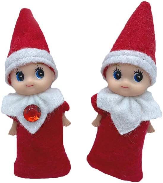 XIN BARLEY Plush Christmas Elf Decorations for Children The Best Christmas Party Decorations The Best Choice-Girls Twins Red