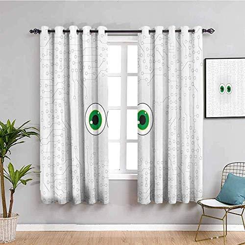 ZLYYH Cortinas De Salón Dibujos animados verde lindo ojos 168x138cm Cortinas Habitacion Opacas 2 Piezas con Ojales 3D Patrón Cortinas Termicas Aislantes Frio Y Calor para Salón Dormitorio Decoración