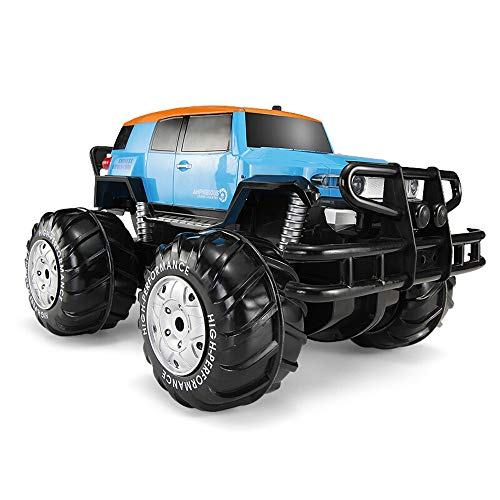 Kikioo 4WD High Speed Big Foot RC Car Large Size Rock Crawler Waterproof Climber 2.4Ghz Headlight Remote Control Off Road Vehicle Amphibious Rechargeable Stunt Toy for Kids Adults Hobby Blue