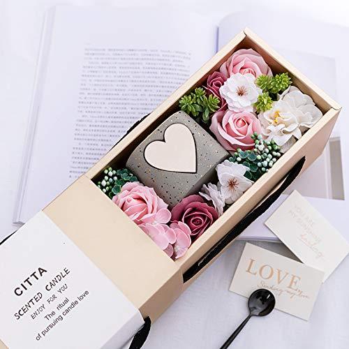 Vine Caja de regalo para mujeres con rosas artificiales con vela perfumada, caja de regalo hecha a mano, caja de rosa conservada para novia, esposa, San Valentín, día de la madre, aniversario