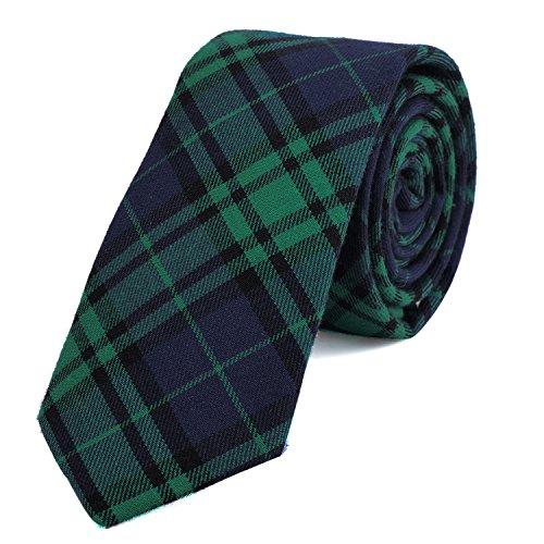 DonDon Corbata de cuadros e rayas de algodón para hombres de 6 cm - verde azul oscuro