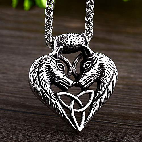 316L Stainless Steel Viking Necklace, Norse Mythology Twin Viking Wolves Sleipnir Celtic Knot Heart Pendant, Irish Fantasy Jewelry Amulet for Men and Women,Wolf,50CM