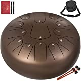 Happybuy Steel Tongue Drum 13 Notes 12 Inches Dia Tongue Drum Maroon Handpan Drum Notes Percussion Instrument Steel Drums Instruments with Bag, Music Book, Mallets,Mallet Bracket