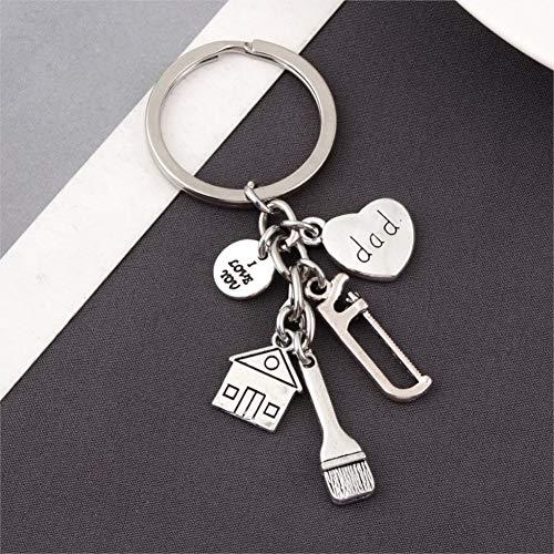 XHYKL 1Pc Handgemaakte Ik hou van U Papa Sleutelhanger Zaag Borstel Huis Decoratie Hanger Sleutelhanger Sieraden