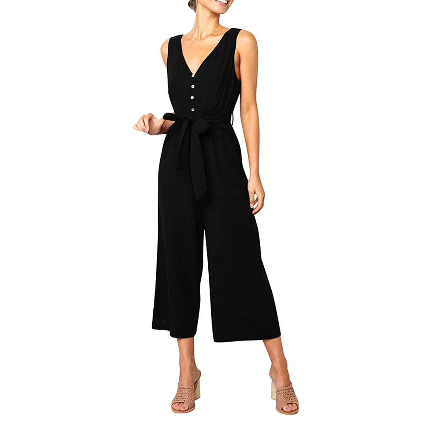 SMALLE_Pants Beach Jumpsuit for Women,SMALLE??? Women Sexy V Neck on Romper Twist Knot Wide Legs Loose Casual Jumpsuit
