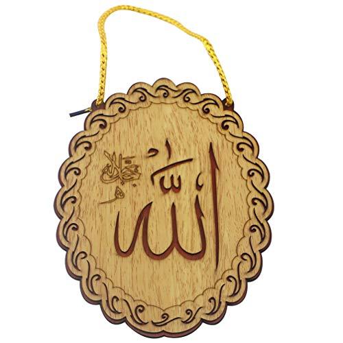 PRETYZOOM Holz Islam Eid Anhänger Oval Geformte Hängende Muslimische Dekoration Hängen Gravierte Arabische Tafel Muslimische Dekoration Geschenk für Tür Festival Iftar Hängenden Tropfen (Stil 1)