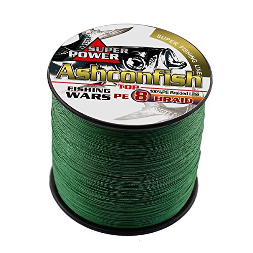 Ashconfish Braided Fishing Line-8 Strands Super Strong Fishing Wire 300M/328Yards 10LB-Abrasion Resistant Braided Lines-Incredible Superline-Zero Stretch-Superfine Diameter-Moss Green