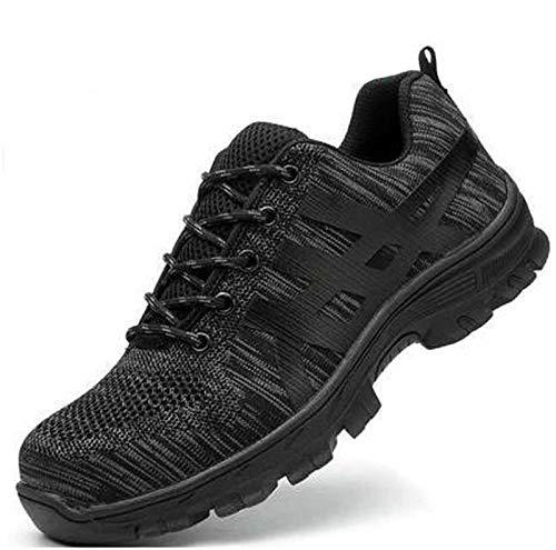 WXBXIEJIA Zapatos De Seguridad Hombre Zapatos de Seguridad Anti-aplastamiento y Anti-puñaladas de la cabecera de Acero Respirable del Verano de la Malla Tejida del vueloBlack-41