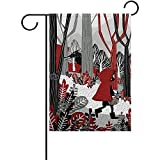 Archiba Kleines Mädchen in der roten Haube gehend in Waldgarten-Flaggen-Fahne 12 x 18 Zoll-dekorative Garten-Flagge für die Rasen- und Garten-Inneneinrichtung im Freien doppelseitig