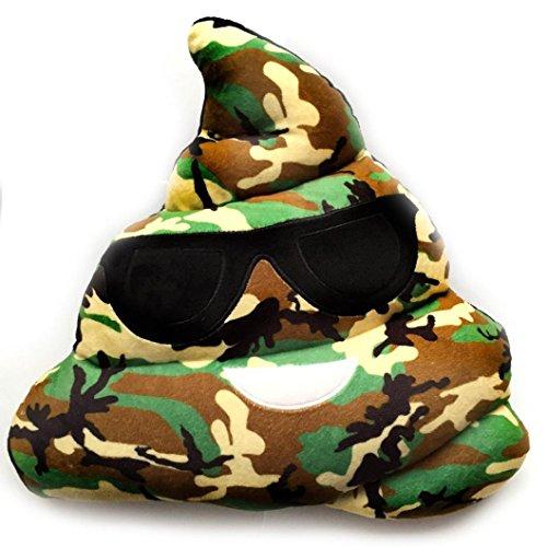 LuckyGirls Camouflage Kissen Amüsant Emoji Emoticon Herz Augen Poo Form Kopfkissen Puppe Spielzeug Geschenk