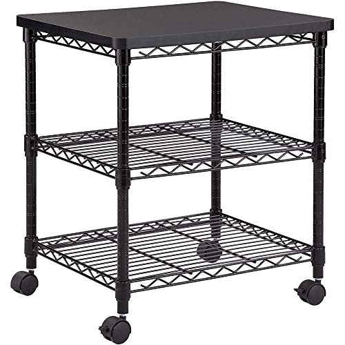 Safco Products Deskside Wire Machine Stand 5207BL, Holds up to 200 lbs.,Black