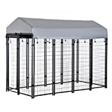 PawHut 8' x 4' x 6' Large Outdoor Dog Kennel Steel Fence with UV-Resistant Oxford Cloth Roof & Secure Lock