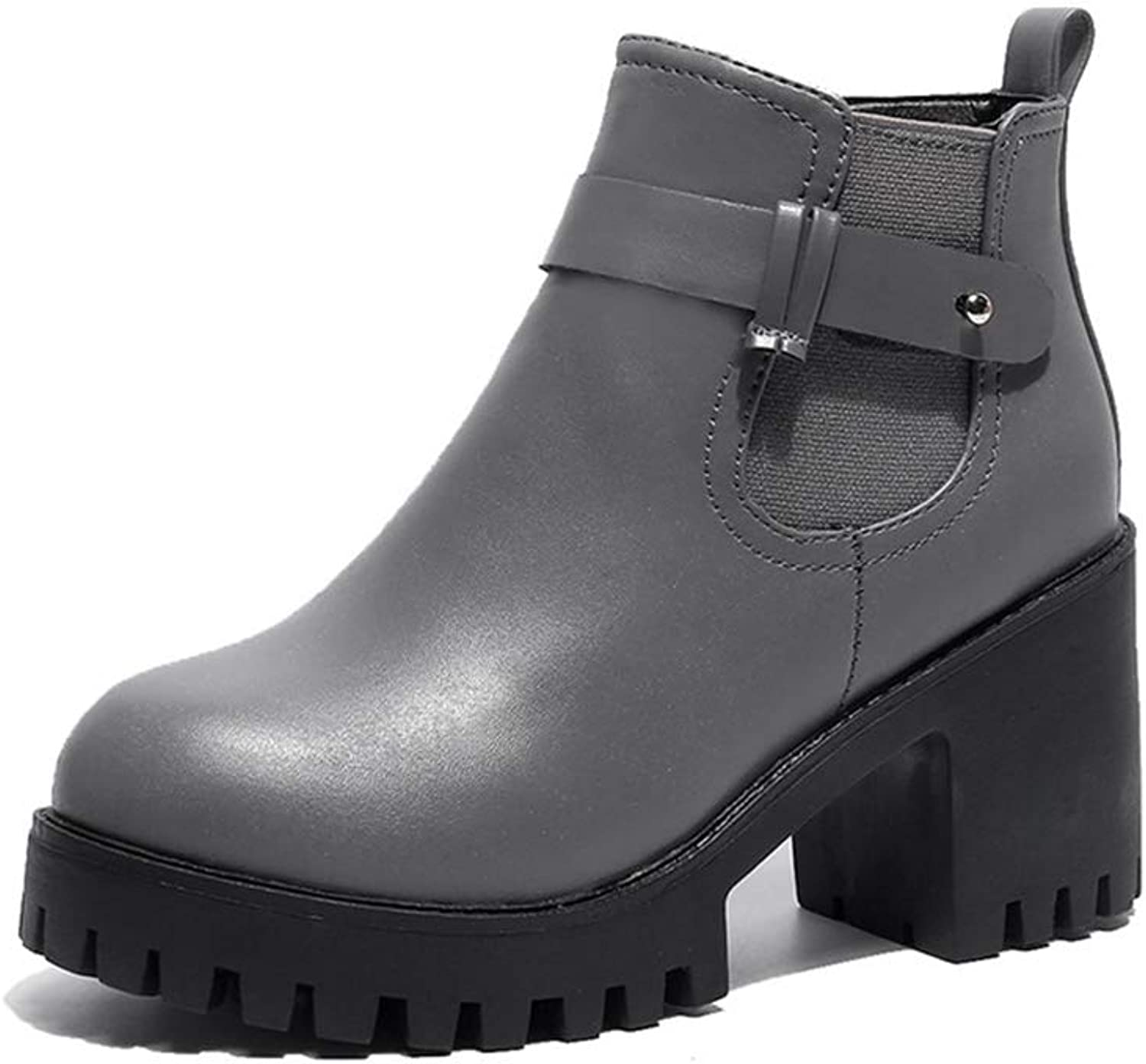 Women's Suede Thick with Low Heel Platform Suede Martin Boots