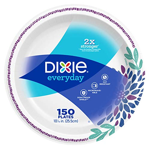 """Dixie Everyday Paper Plates, 10 1/16"""", 150 Count, Dinner Size Printed Disposable Plates"""