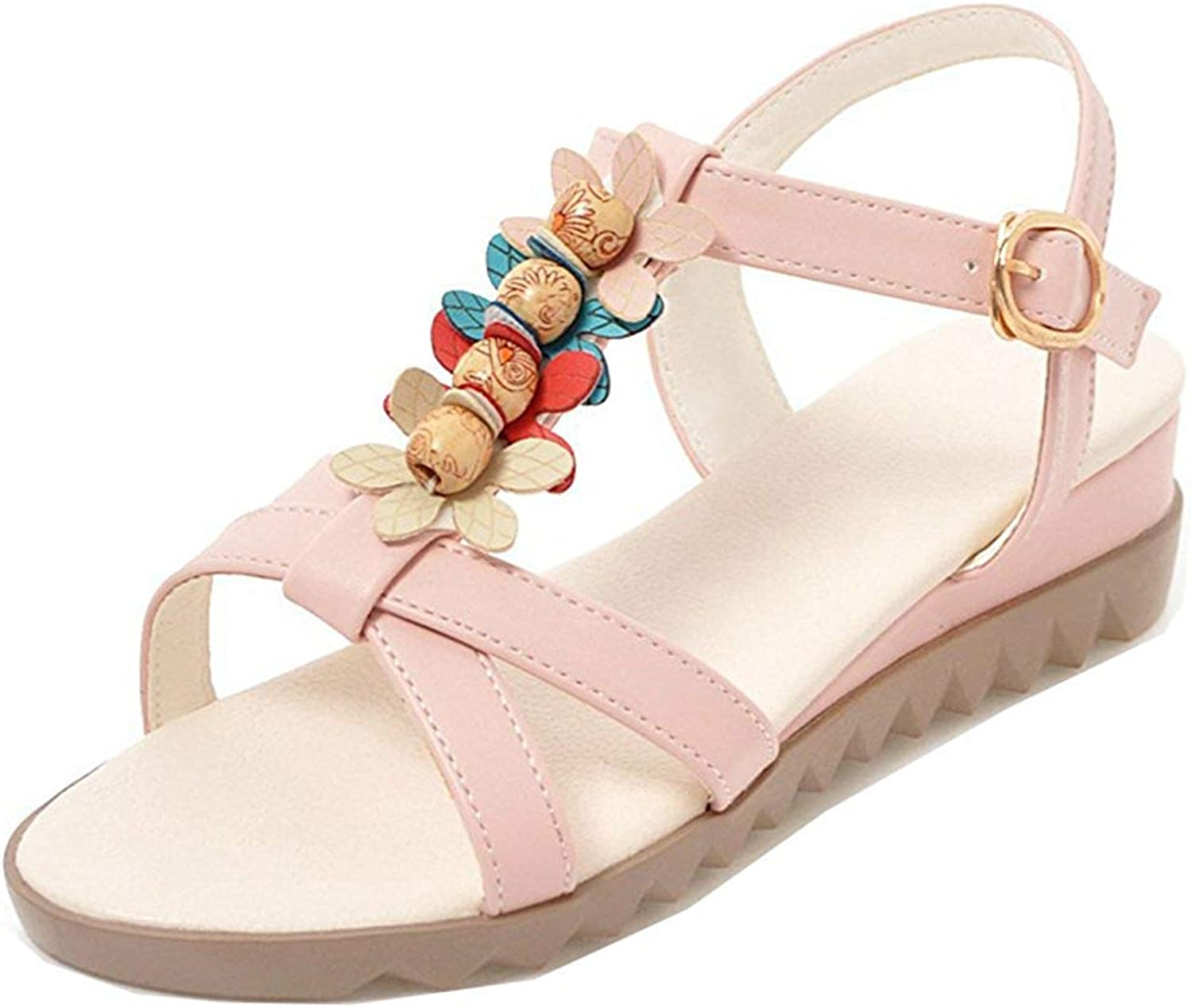 Unm Women's Open Toe Wedge Sandals with Ankle Strap - Bohemian Beaded - Low Heel Buckled