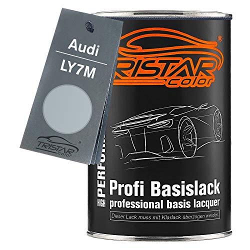 TRISTARcolor Autolack Dose spritzfertig für Audi LY7M Alusilver Metallic/Alusilber Metallic Basislack 1,0 Liter 1000ml