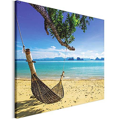 amaca hawaii Revolio 50x50 cm Quadro Moderno Stampa su Tela Canvas per Camera da Letto Soggiorno Decorazione Murale Stampe da Parete Grandi Dimensioni - Vacanza Hawaii Amaca Mare Spiaggia Blu