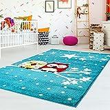 carpet city Kinderteppich Flachflor Moda Kids mit Eulen Sternen Himmel Blau Türkis für Kinderzimmer; Größe: 120x160 cm