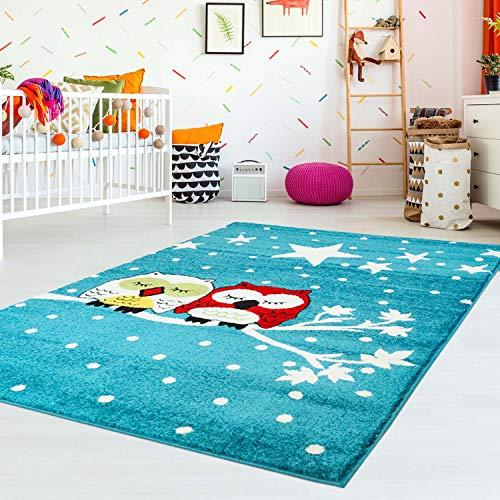 carpet city Kinderteppich Flachflor Moda Kids mit Eulen Sternen Himmel Blau Türkis für Kinderzimmer; Größe: 80x150 cm
