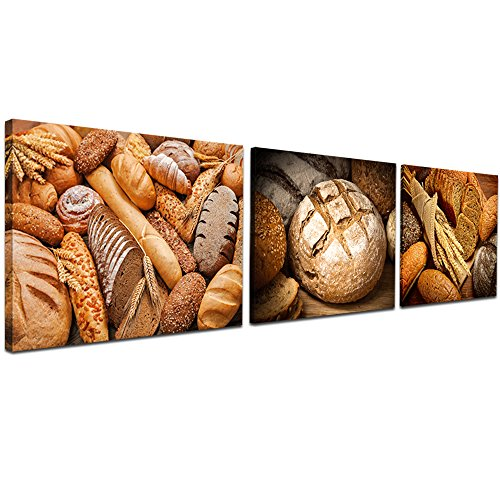 sechars - 3 Piece Wall Art Fresh Bread Pictures Print on Canvas Painting Modern Kitchen Cafe Bar Restaurant Bakery Shop Decor,Streched and Framed Ready to Hang