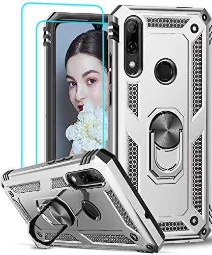 LeYi für Huawei P Smart 2019 Hülle Honor 10 Lite Handyhülle mit Panzerglas Schutzfolie(2 Stück), 360 Grad Ringhalter Cover TPU Bumper Schutzhülle für Case Huawei P Smart 2019 Handy Hüllen Silber