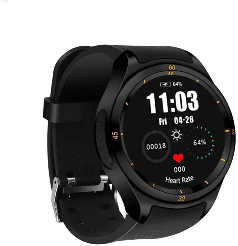 スマートな腕時計3gのアンドロイドの円形スクリーン1 + 16gのブルートゥースGPSのスマートウォッチ (Color : 黒)