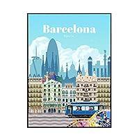IDOLN1 バルセロナへの旅行旅行世界ポスター絵画アートポスタープリントキャンバス家の装飾写真ウォールプリント-50x70cmフレームなし1PCS