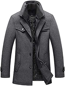 Chouyatou Men s Gentle Layered Collar Single Breasted Quilted Lined Wool Blend Pea Coats  Large Grey