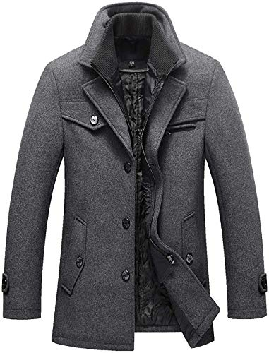 Chouyatou Men's Gentle Layered Collar Single Breasted Quilted Lined Wool Blend Pea Coats (Large, Grey)