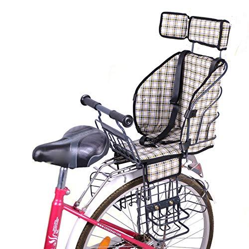 YXZN Seggiolini per Bambini Seggiolini per Bambini con Cintura di Sicurezza Addensare Il seggiolino per Bambini Sgancio rapido Adatto per Bici elettriche,Beige,003
