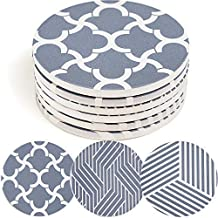 ENKORE Absorbent Coasters - Set of 6 in 3 Different Patterns, Coaster For Drinks With No Holder, Thirsty Ceramic Material Fast Absorbs Moisture From Cold Drink Glasses