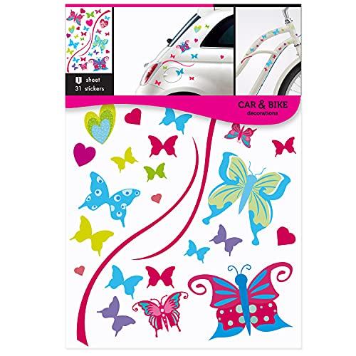 Car Bike Decoration - Schmetterling-Sticker - Aufkleber für Auto, Motorrad, Fahrrad, Roller, Skateboard, Laptop, Helm, Wohnmobil, 35x24cm, 31 Sticker