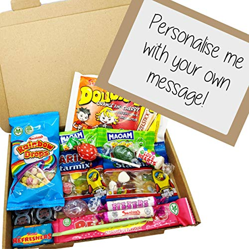 Retro Sweet Box - A5 Letter Box free personalised label by Eventabox *SWEETS VARY*