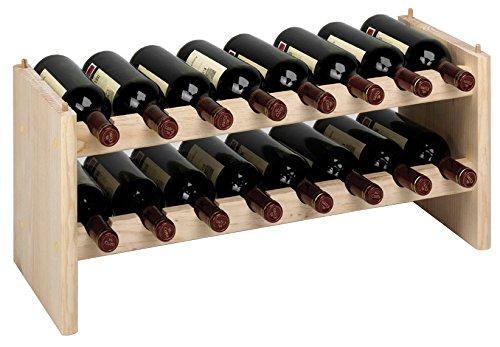 Piushopping Cantinetta componibile portabottiglie Vino in Legno di Pino Naturale 16 postazioni per modulo Dimensione cm 69x27xh30