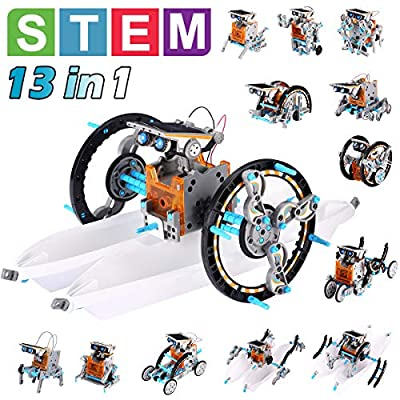 Pakoo Solar Robot Toys STEM Toys 13 in 1 Science Kits for Kids DIY Educational Learning Science Building Toys, STEM Projects for Kids Ages 8-12 Year Old Boys & Girls