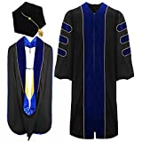 lescapsgown Deluxe Doctoral Graduation Gown Hood and Tam 8Sided Package Size 48 RoyalBlue