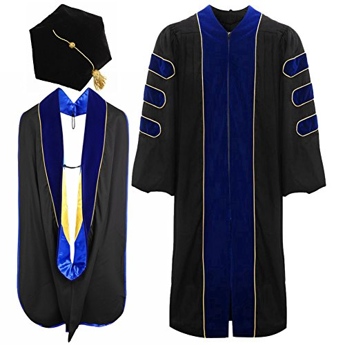 lescapsgown Deluxe Doctoral Graduation Gown Hood and Tam 6Sided Package Size 48 RoyalBlue