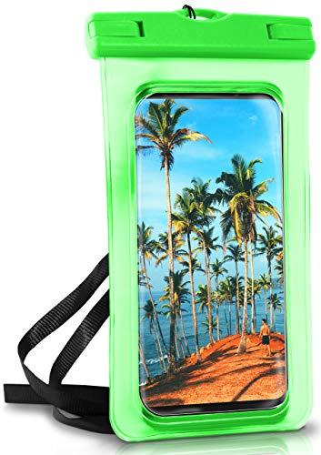ONEFLOW® wasserdichte Handy-Hülle für alle Vernee Handys | Touch- und Kamera-Fenster + Armband & Schlaufe zum Umhängen, Grün (Palm-Green)