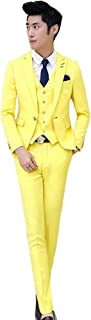 フォーマル スーツ卒業式スーツ 男性用背広 1ツボタン 洋装 メンズスリムスーツ 3点セット ベスト付き ジャケット ズボン ベストリクルートスーツ 面接 入学式 花婿スーツ 大きいサイズ 緑 黄