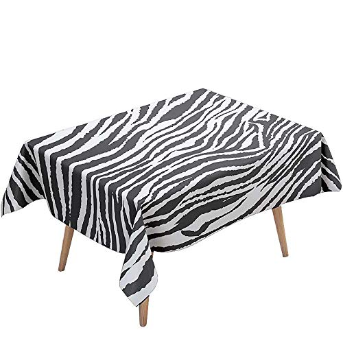 Tischdecke Abwaschbar Wasserdicht Abwischbar Schmutzabweisend, DOTBUY 3D Rechteckige Tischtuch Eckig Tischwäsche für Home Küche Garten Dekoration mit 4 klammern (Zebra,100x140cm)