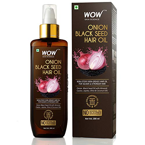 WOW Skin Science Onion Oil - Black Seed Onion Hair Oil - Controls Hair Fall - No Mineral Oil, Silicones & Synthetic Fragrance -...