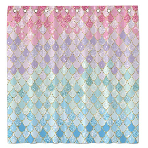 """Allenjoy 72""""x72"""" Mermaid Scales Shower Curtain for Bathroom Ocean Under The Sea Pink and Blue Girl Home Bath Decor Durable Waterproof Fabric (NO Glitter) Machine Washable with 12 Hooks"""